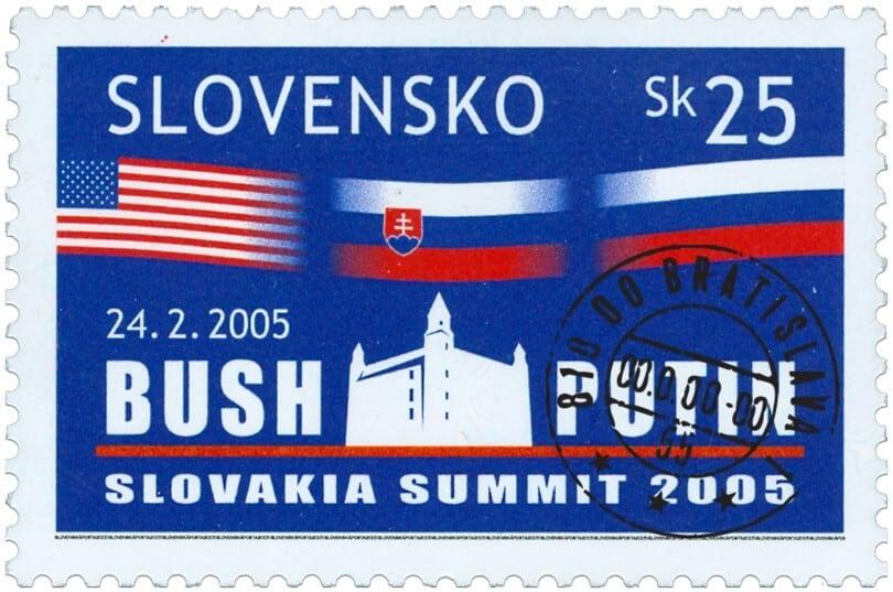 Poštová známka Bush - Putin s pečiatkou