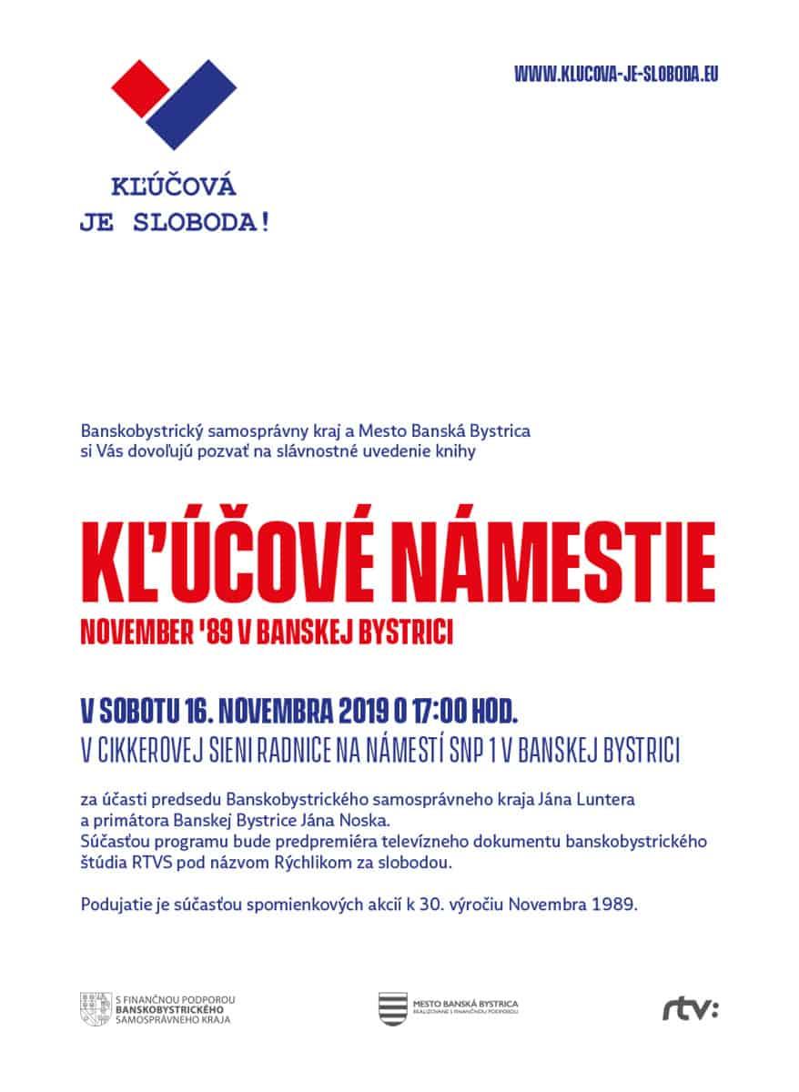 Ukážka použitia logotypu Kľúčová je sloboda na pozvánke k podujatiu Kľúčové námestie.