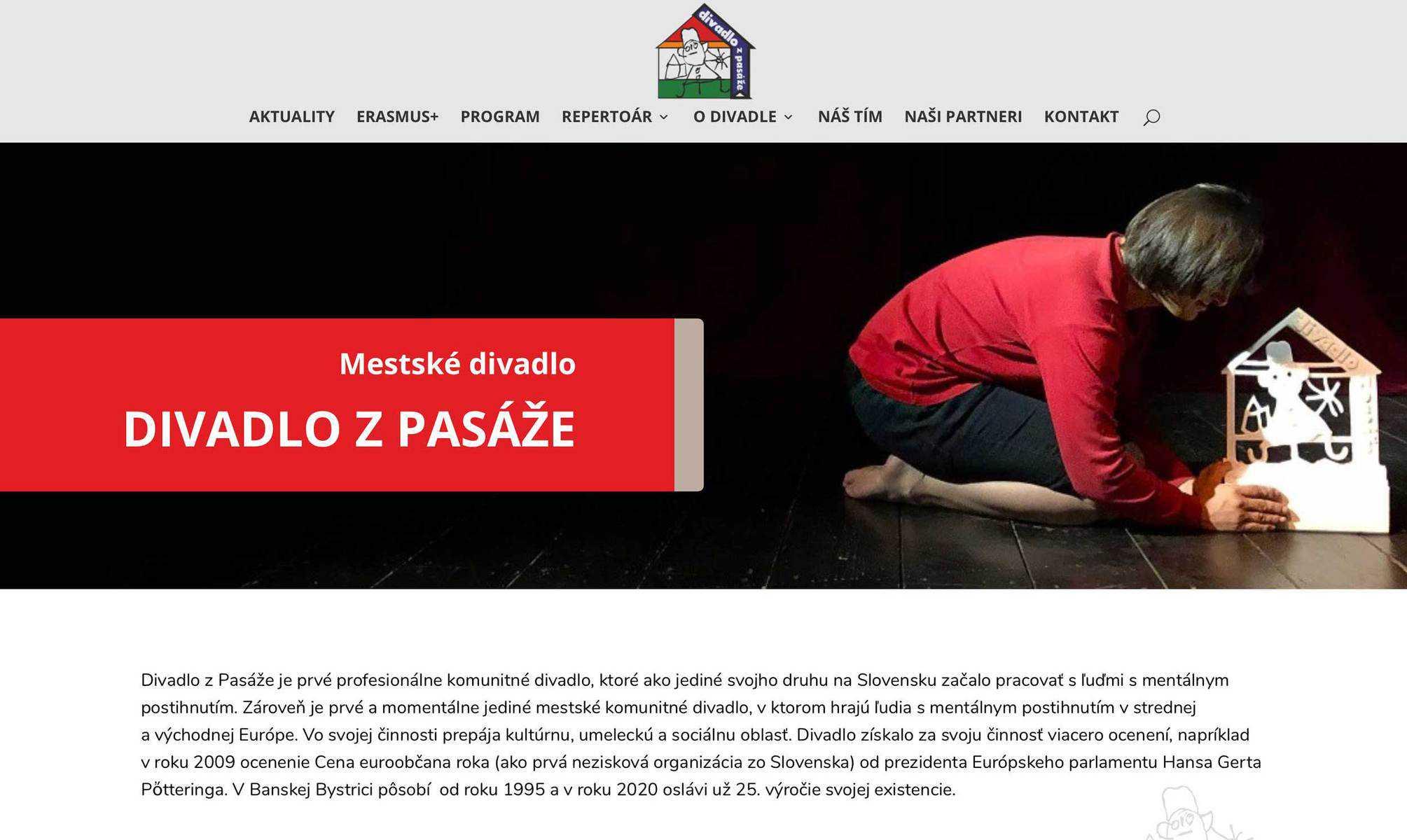 Webstránka Divadlo z Pasáže 6