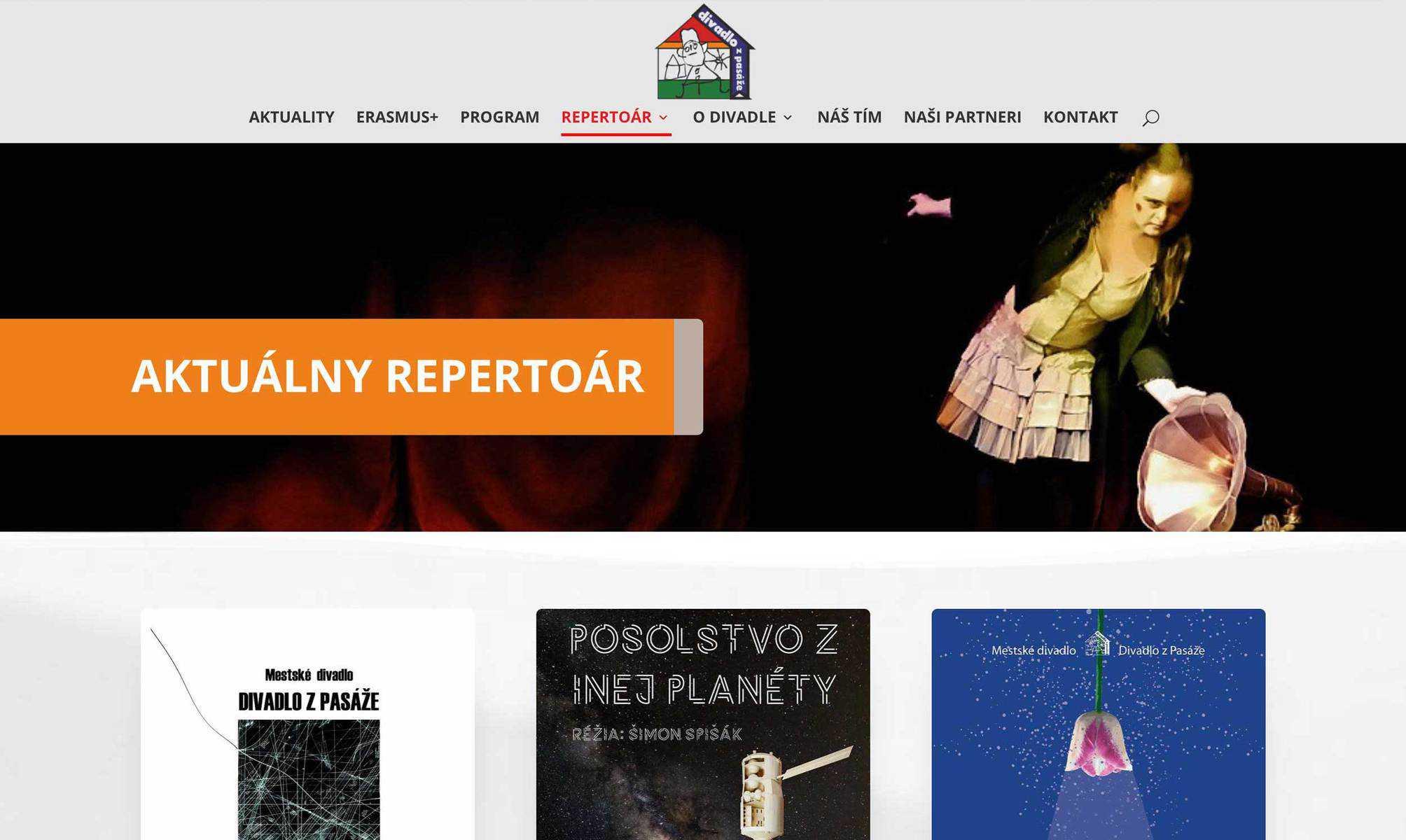 Webstránka Divadlo z Pasáže 4