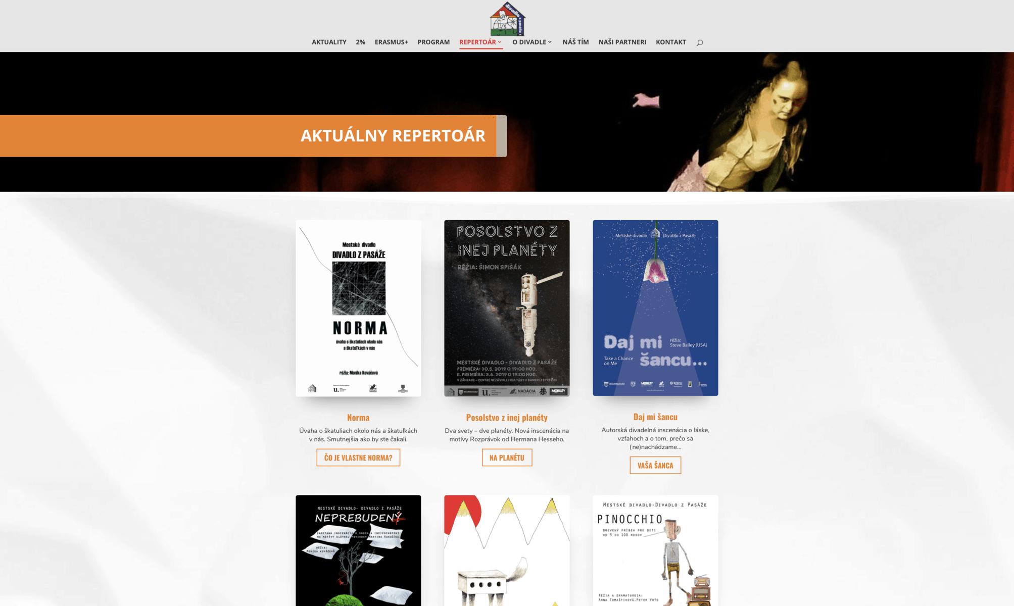 Webstránka Divadlo z Pasáže 9