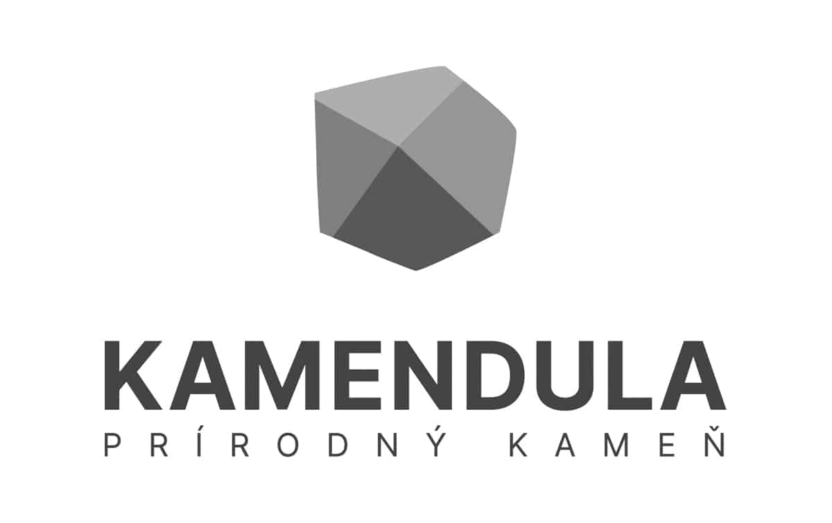 Logotyp KAMENDULA - verzia v odtieňoch šedej