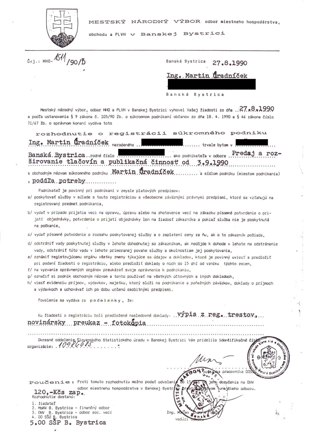Živnostenské povolenie z roka 1990