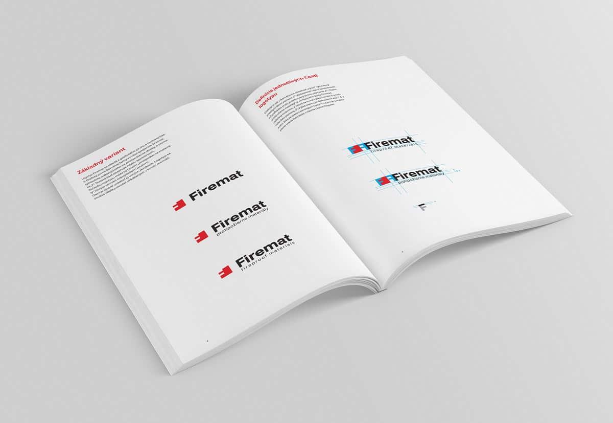Logotyp Firemat - dizajn manuál, vnútorné strany
