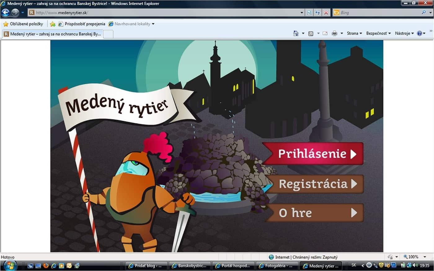 Počítačová hra Medený rytier - úvodná obrazovka hry