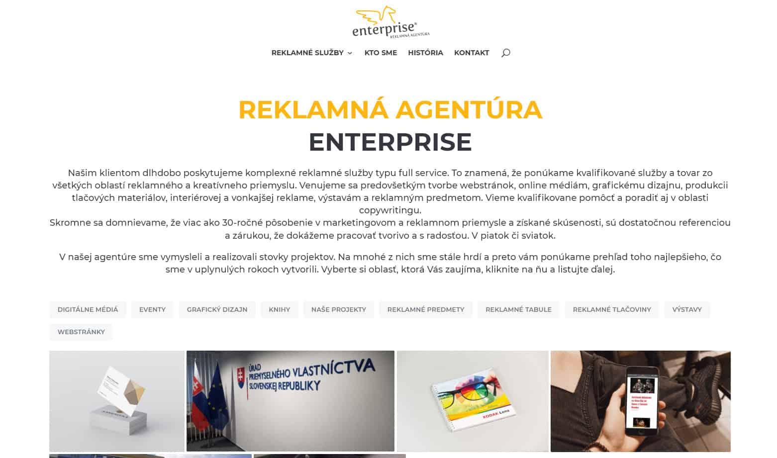 Úvodná stránka webu ENTERPRISE